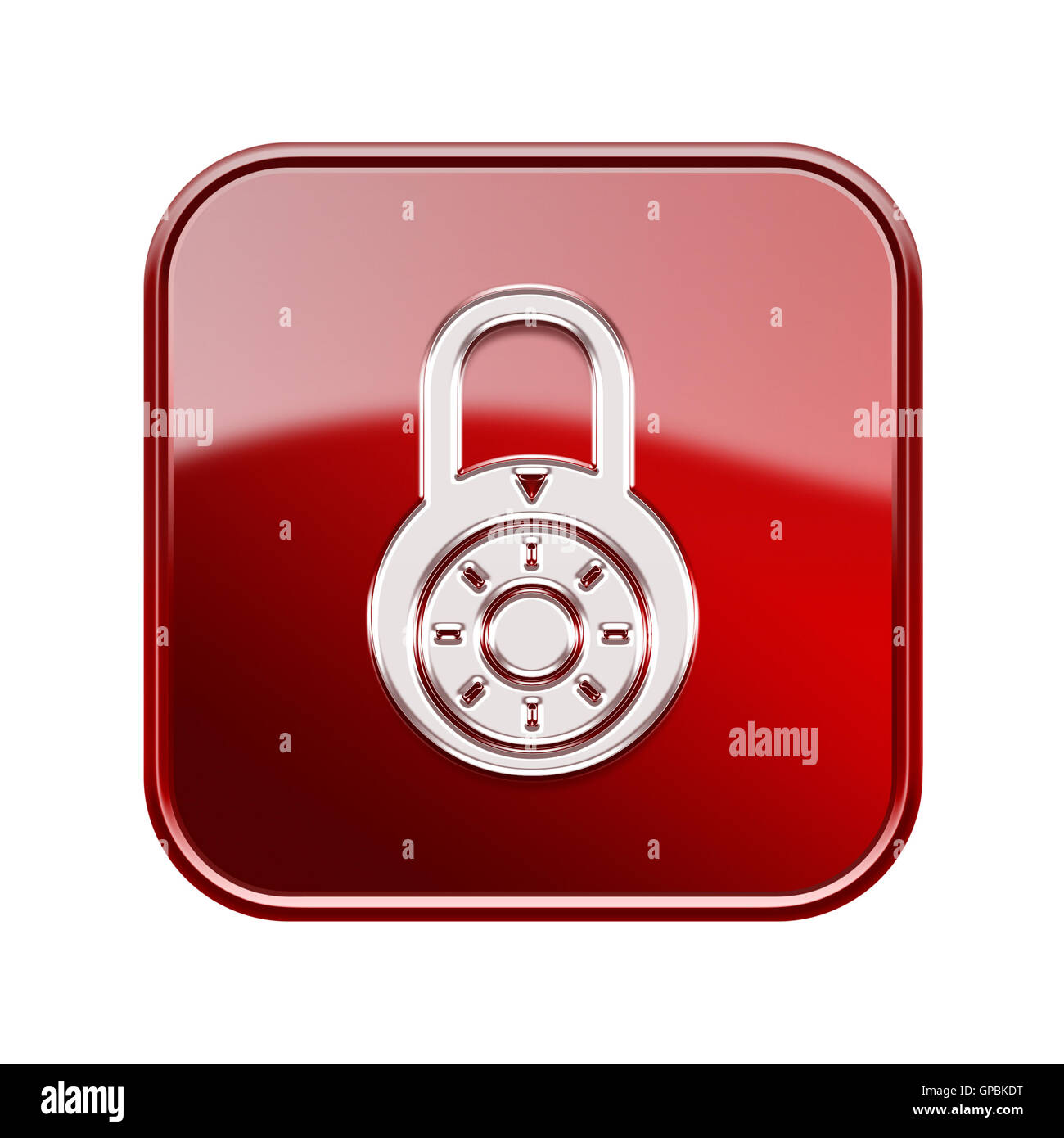 Lock off icon glossy red, isolated on white background. - Stock Image
