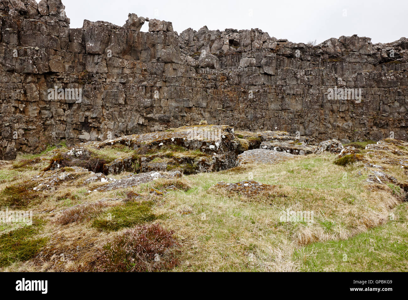 lava flow crack basalt wall cross section of continental plate in thingvellir Iceland - Stock Image