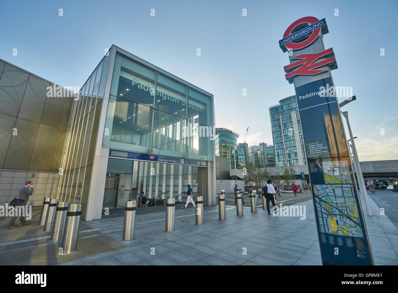 paddington underground station entrance. - Stock Image