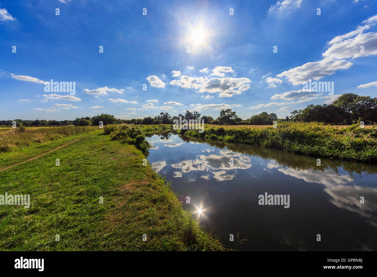 Afternoon sun over the Wey Navigation near Send, Surrey in summer with reflections of sky and clouds - Stock Image