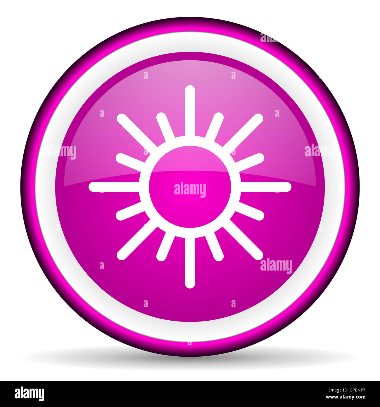sun violet glossy icon on white background - Stock Image