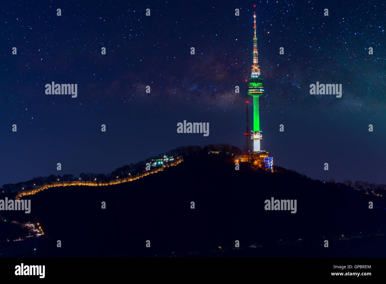 Seoul tower and Milky Way Galaxy in Seoul, South Korea - Stock Image