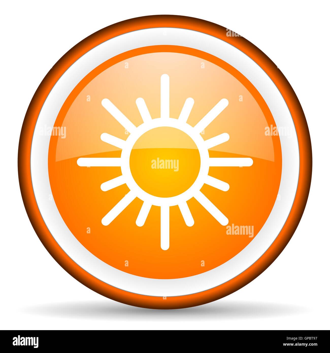 sun orange glossy circle icon on white background - Stock Image