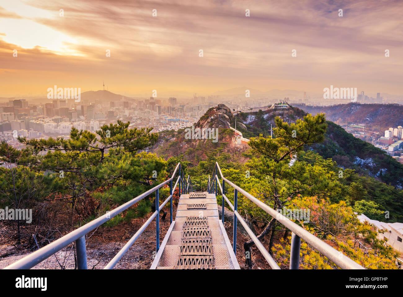 sun rises over of Seoul City,South Korea. - Stock Image