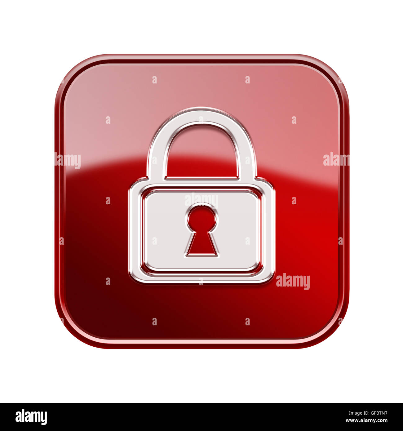 Lock icon glossy red, isolated on white background - Stock Image