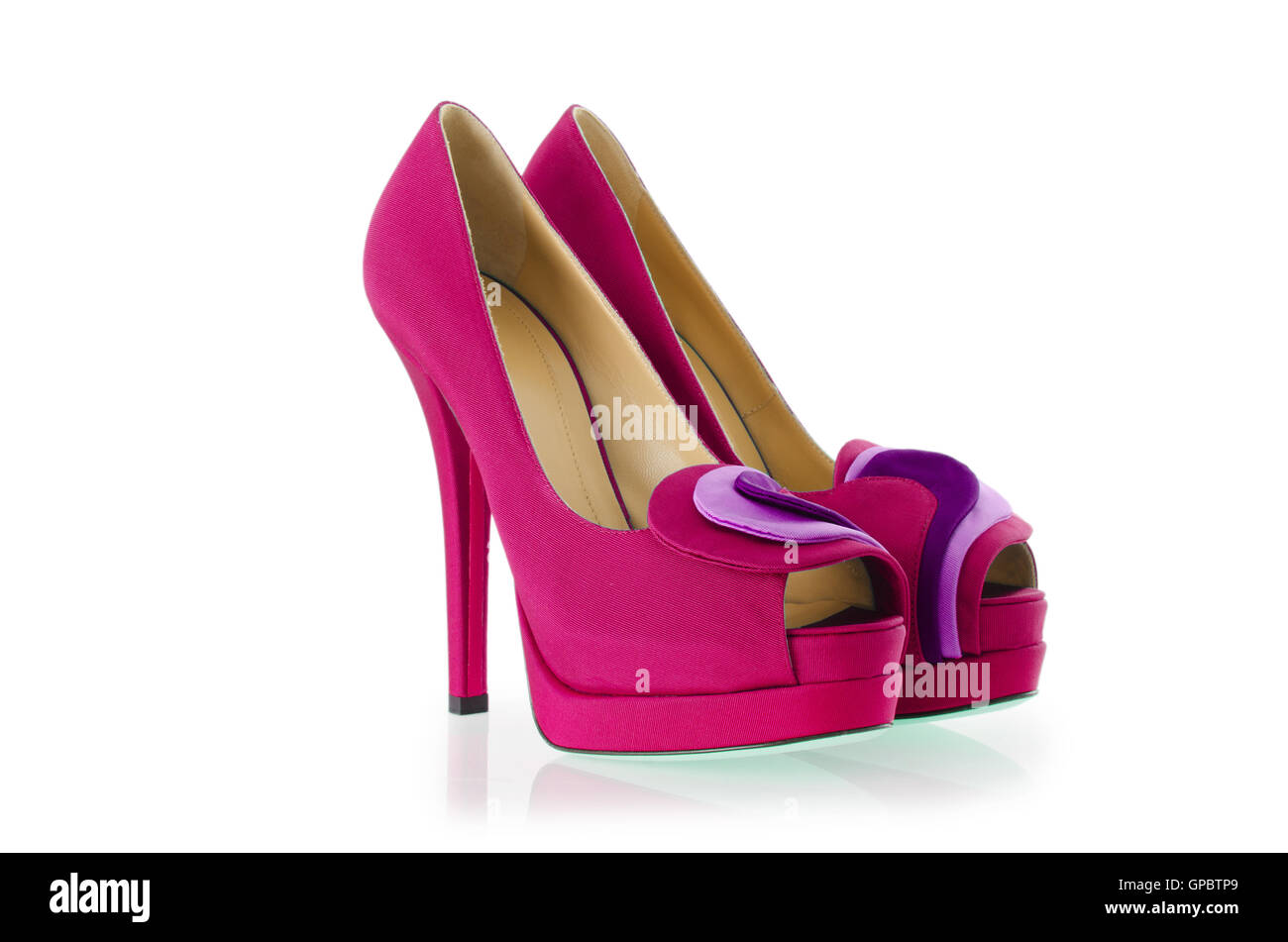 Woman shoes isolated on white - Stock Image