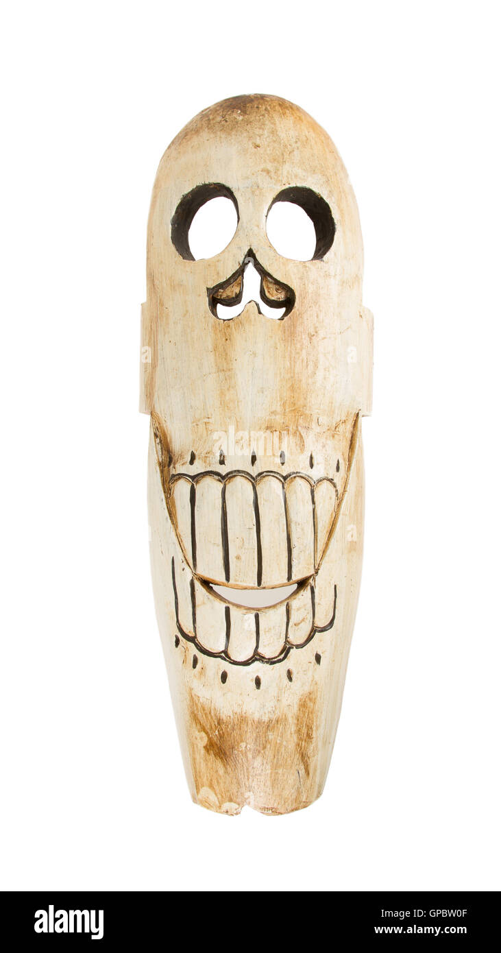 Tribal African mask used in traditional ceremonies isolated - Stock Image