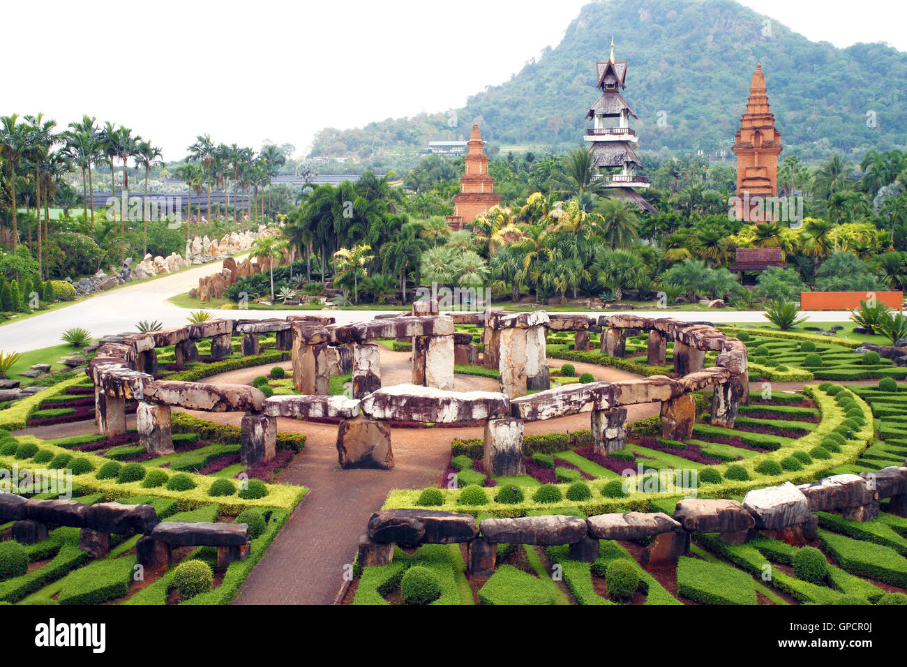 Park nong nooch in Thailand, shrubberies grow in geometric figur - Stock Image