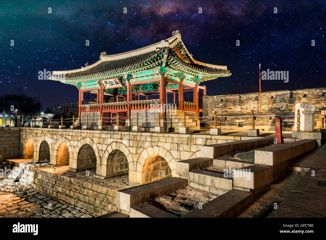 Hwaseong Fortressand Milky Way Galaxy in Seoul, South Korea. - Stock Image