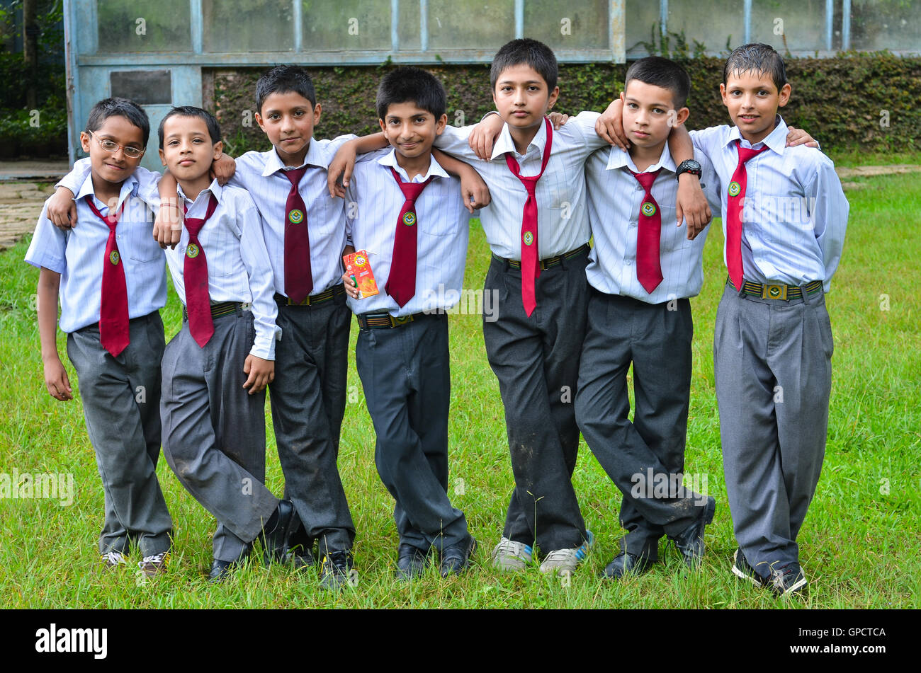 group of nepalese schoolboys - Stock Image