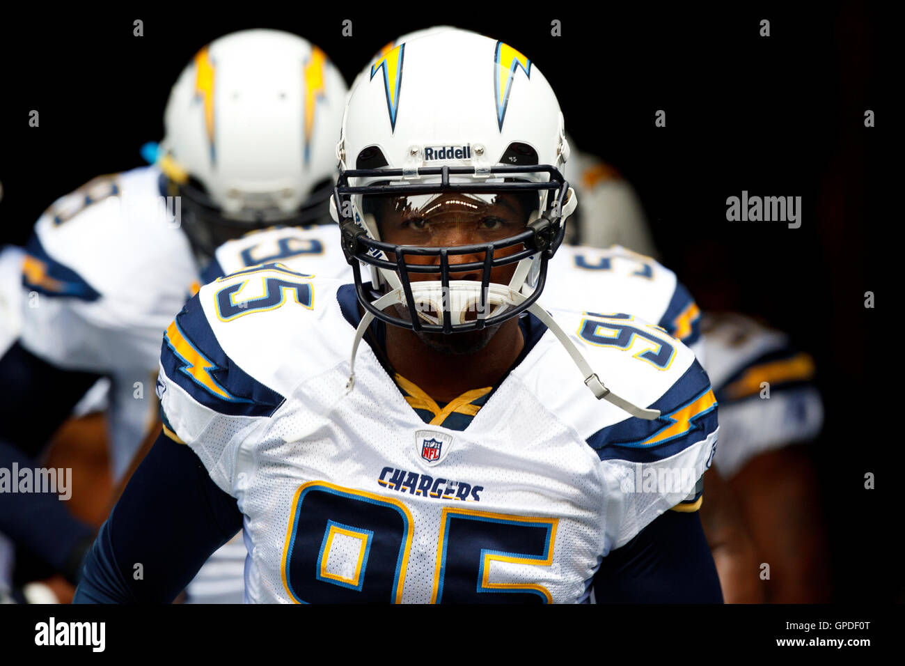 September 26 2010 Seattle WA USA San Diego Chargers Linebacker Shaun Phillips 95 Enters The Field Before Game Against Seahawks At
