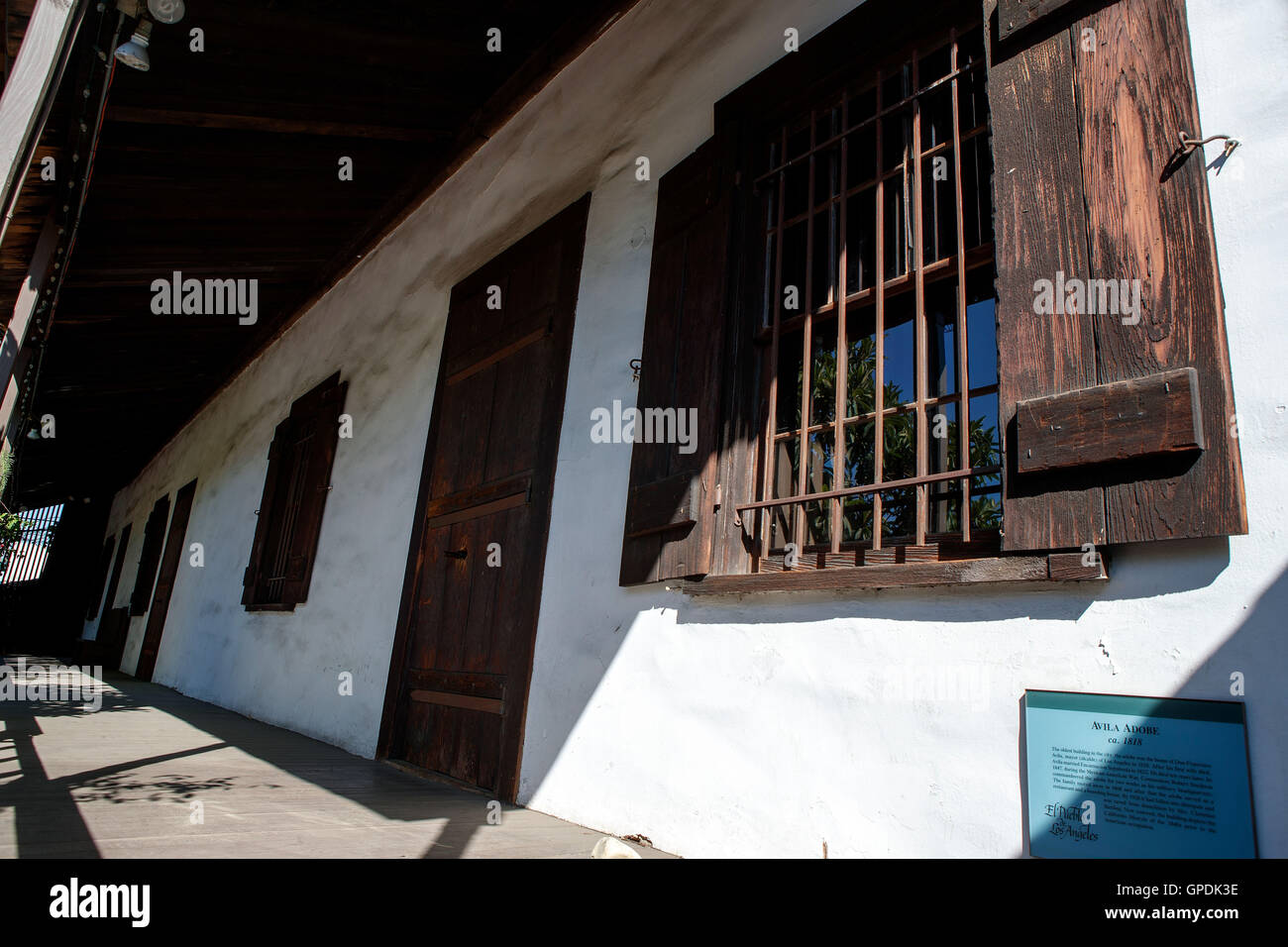 Avila Adobe, Olivera Street, Los Angeles, California, United States of America - Stock Image