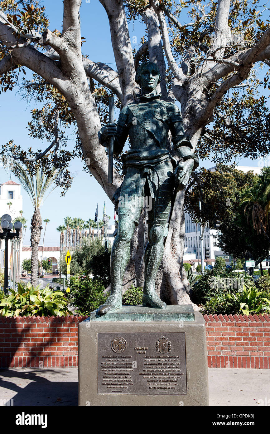 Statue of Carlos III, near Olivera Street, Los Angeles, California, United States of America - Stock Image