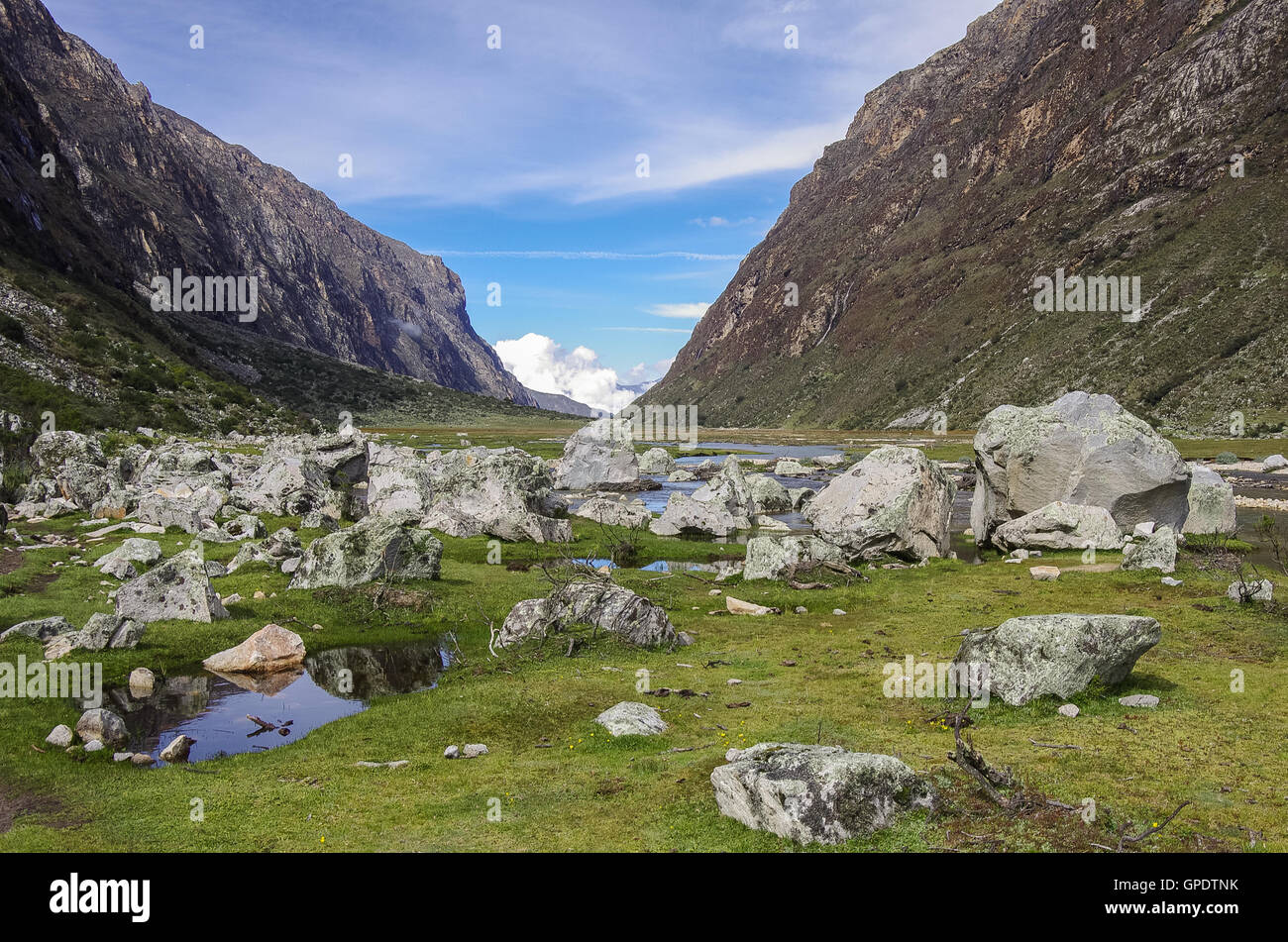 Mountain valley and river. Huascaran National Park, Cordillera Blanca - Santa Cruz Circuit Trekking. Peru Stock Photo