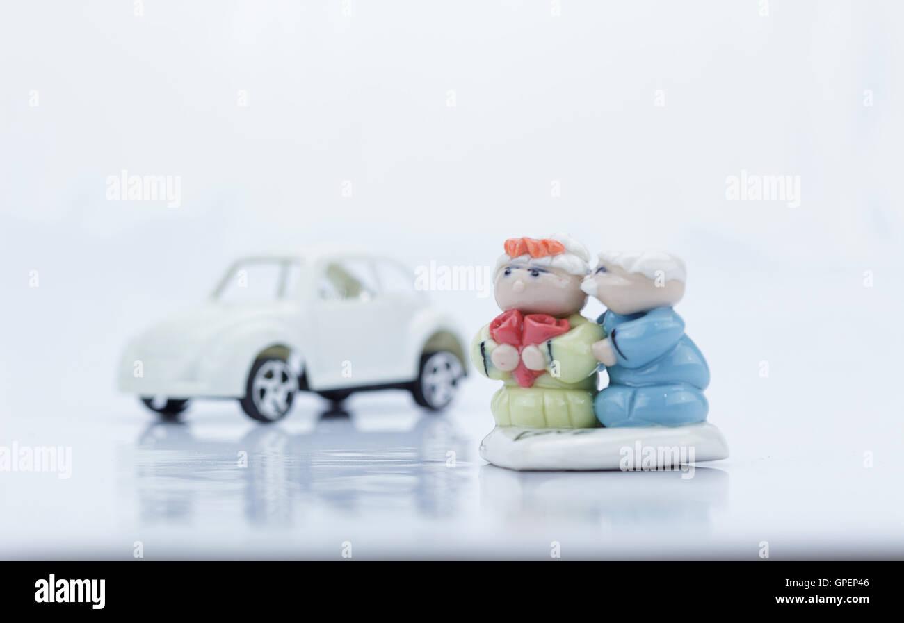 Elderly couple models  on white background Isolated - Stock Image