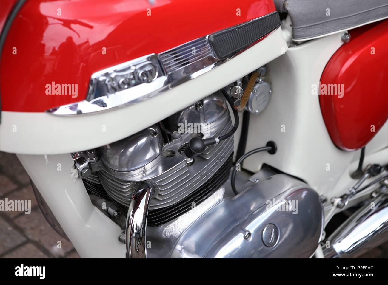 Norton Motorbike - Close up of parallel  twin engine - Stock Image