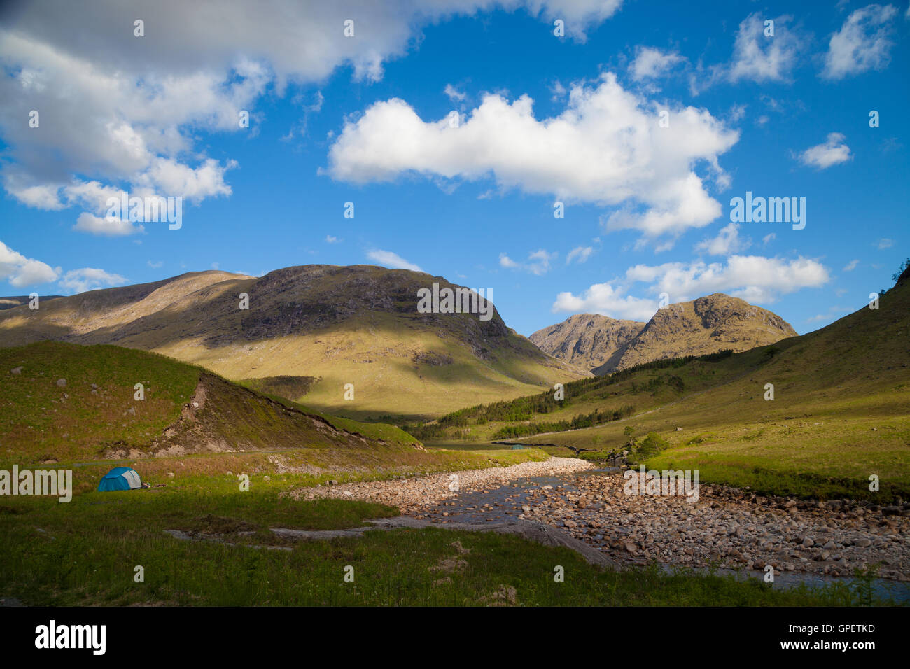 Wild camping next to the river in Glen Etive, Highlands Scotland. - Stock Image