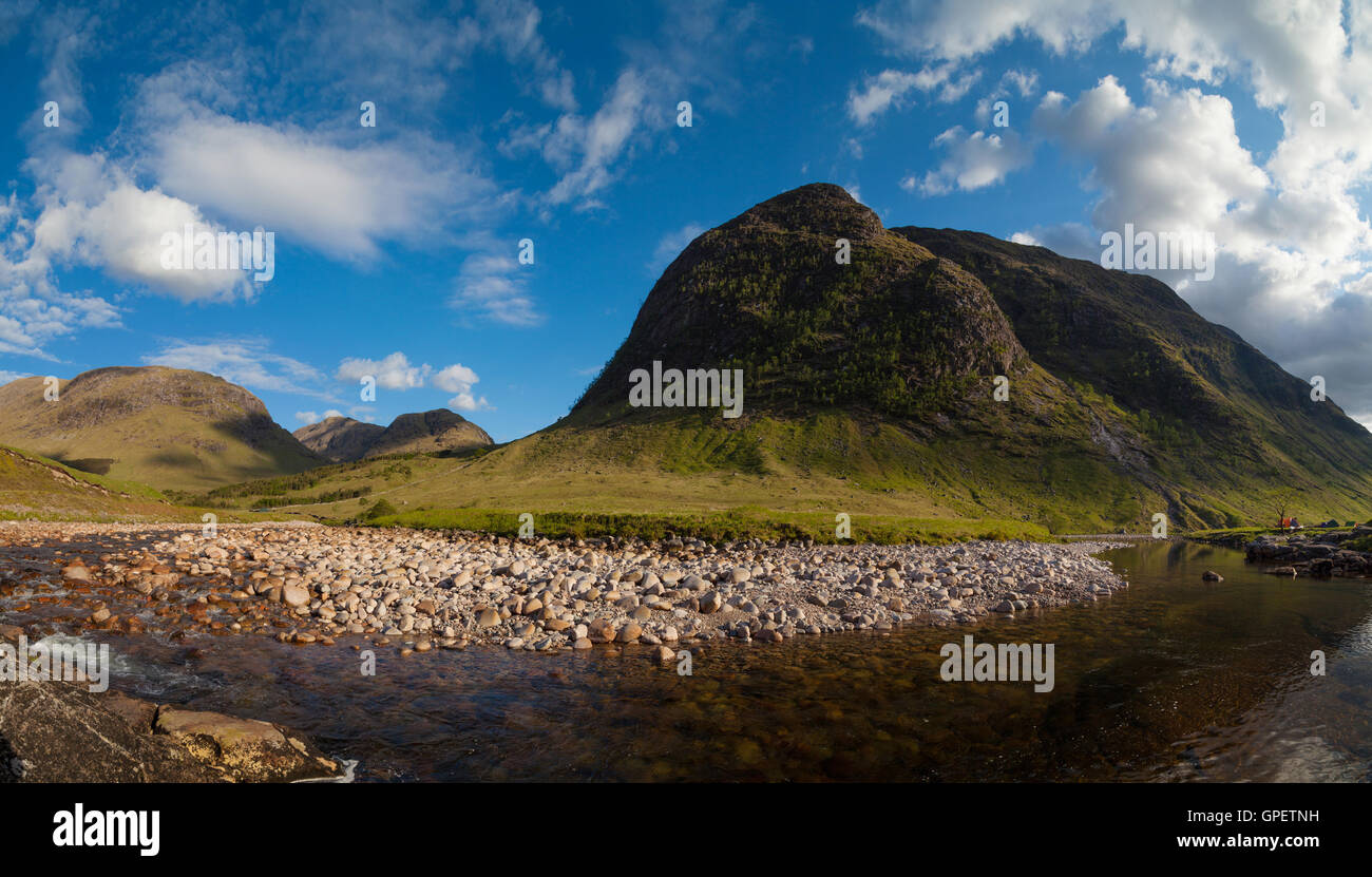Stob Dubh rising high above river Etive in Glen Etive, highlands Scotland. Stock Photo