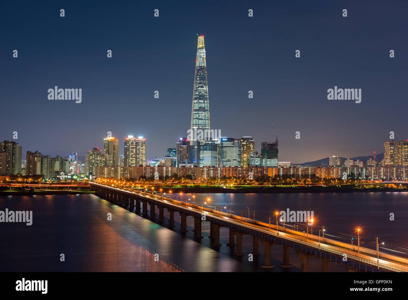 Seoul Subway and Seoul City Skyline, South korea - Stock Image