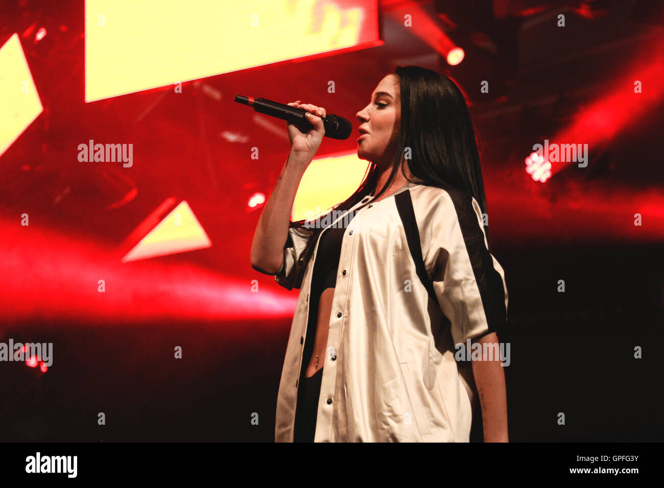 Tulisa performs at 'The Big Weekend' for Manchester Pride. - Stock Image