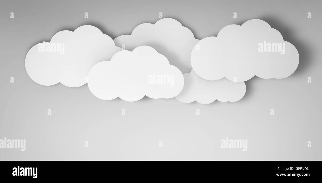 3d clouds on a blue background - Stock Image