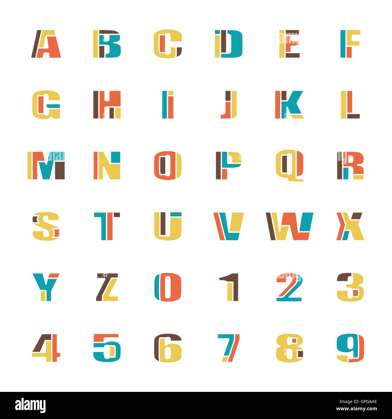 mosaic style alphabet letters and numbers  vector font type