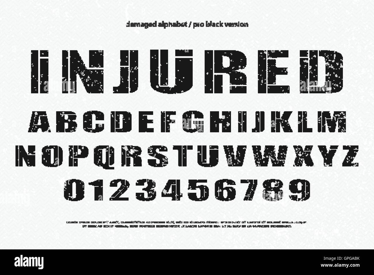 Industrial Style Alphabet Letters And Numbers Vector Font Type Design Grunge Lettering Icons Bold Typesetting Injured Typefa