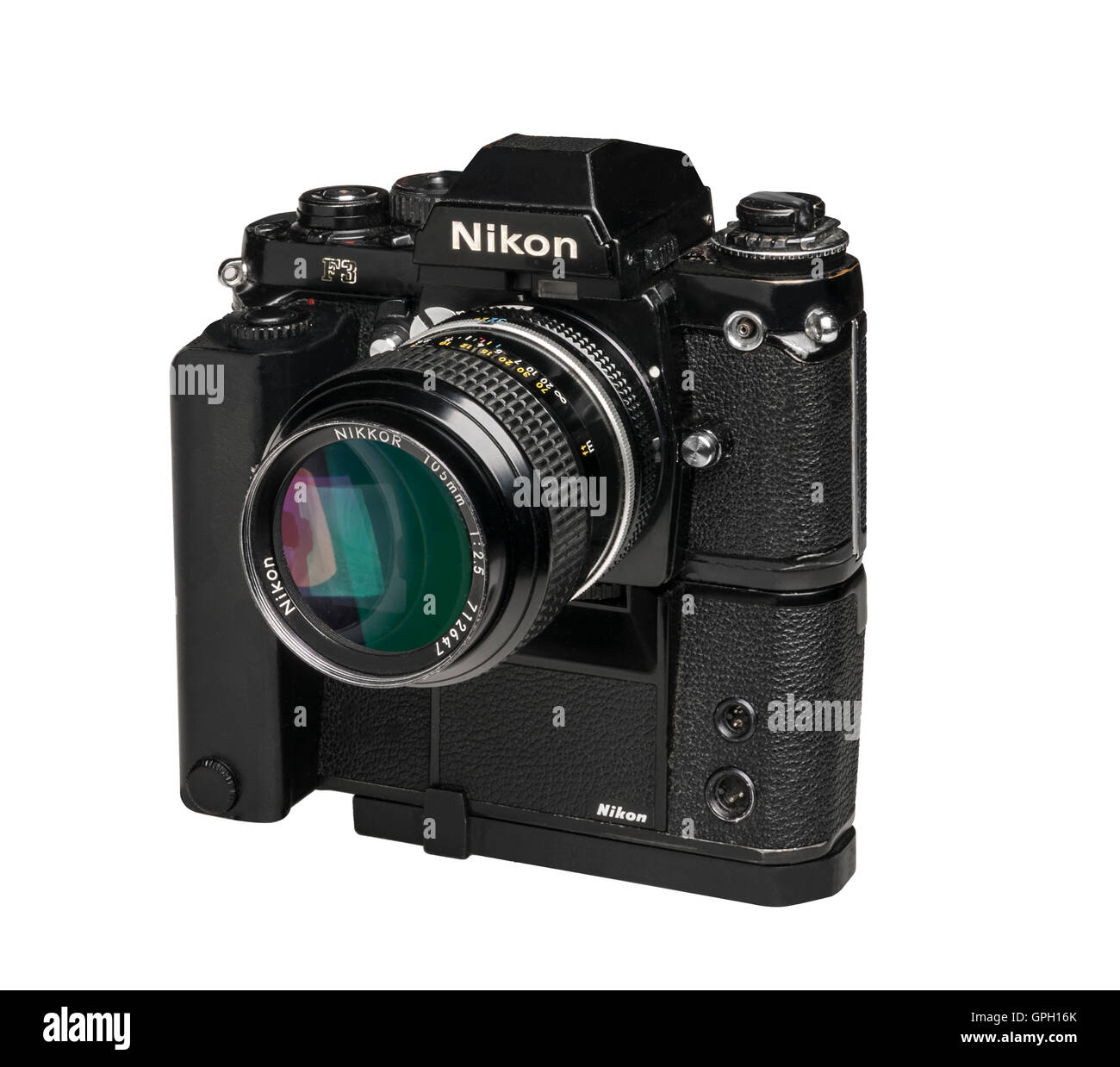 1990 Nikon F3 professional 35mm film camera withMD4 Motordrive and 105 mm lens - Stock Image