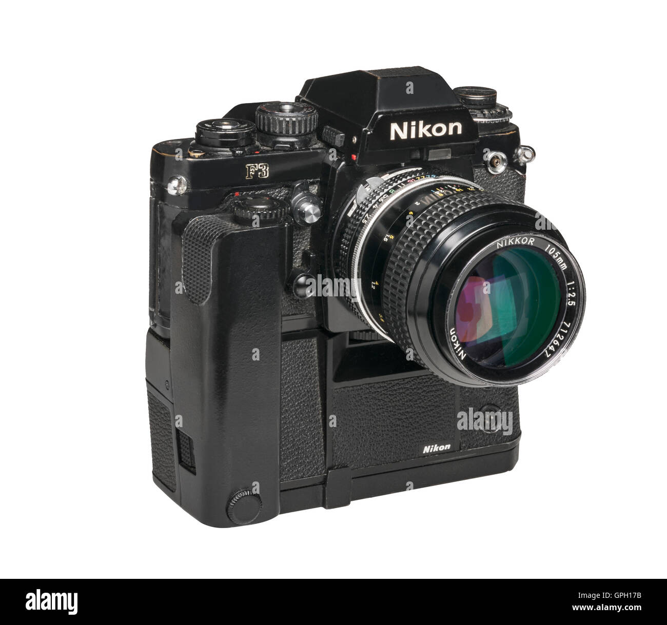 1990 Nikon F3 professional 35mm film camera with MD4 Motordrive and 105 mm lens - Stock Image