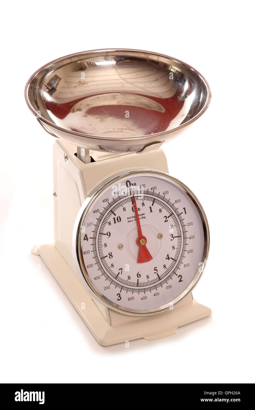 Cream vintage style cooking scales cutout - Stock Image