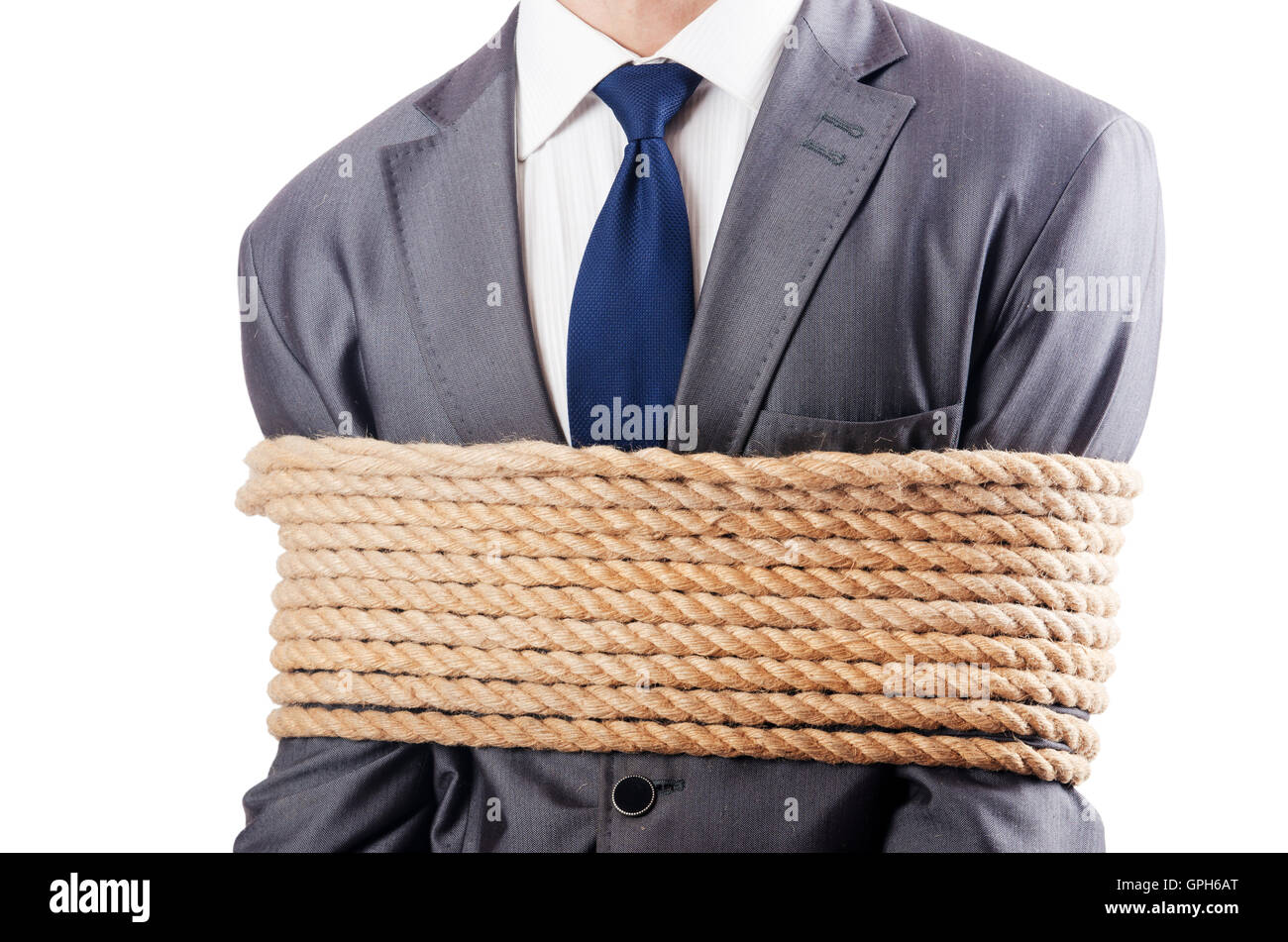 Man tied up with rope on white Stock Photo