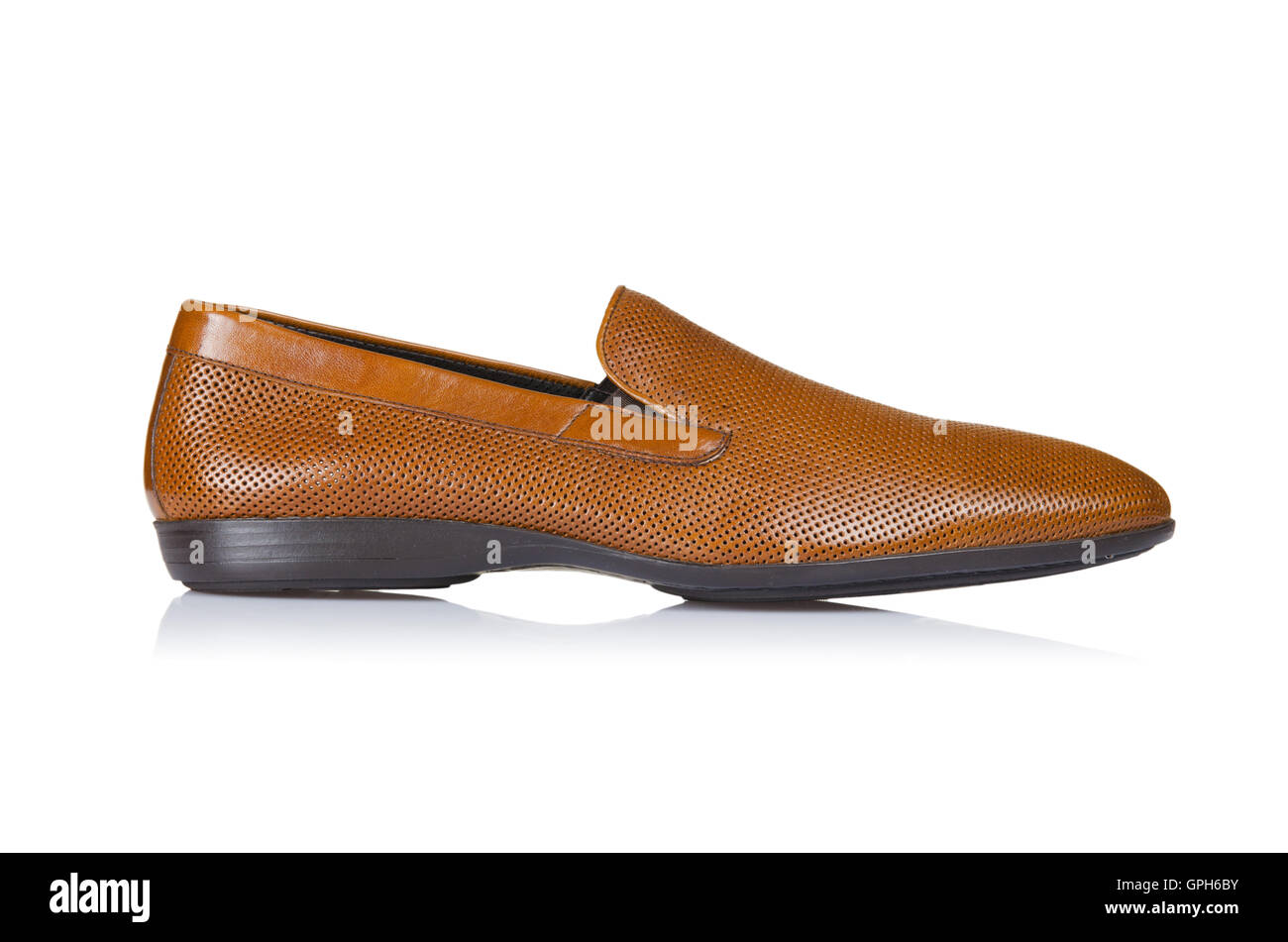 Fashion concept with male shoes on white Stock Photo