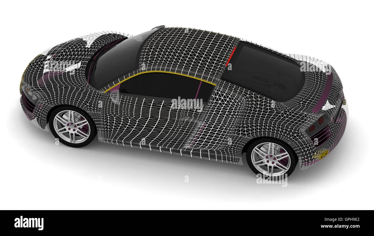 3d car wire model on a white background - Stock Image