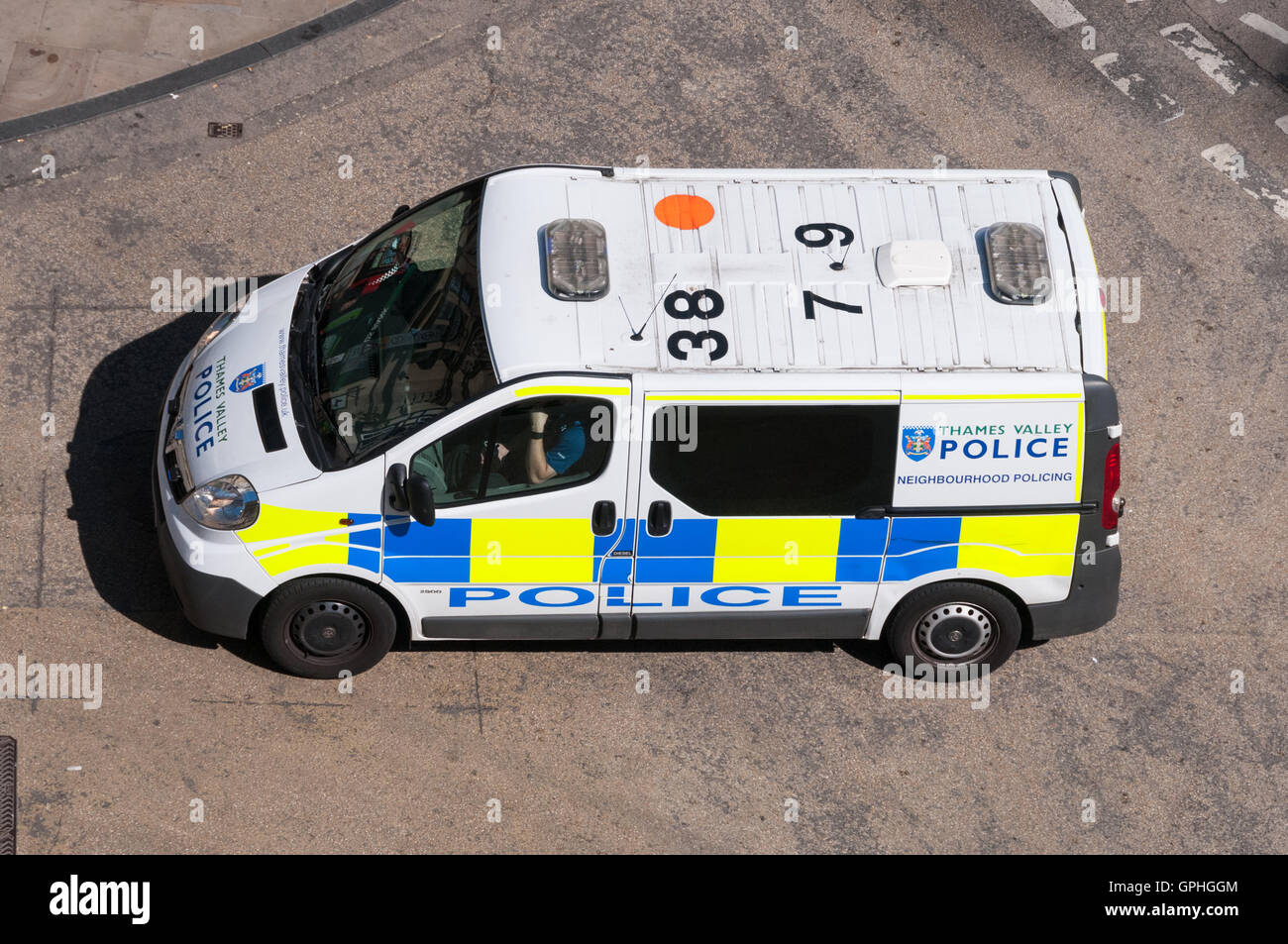 Police van viewed from above - Stock Image
