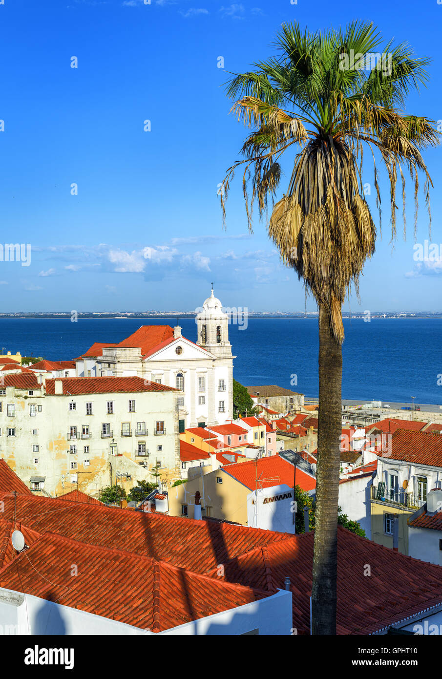 View over roofs of Alfama, the old quarter of Lisbon, Portugal - Stock Image