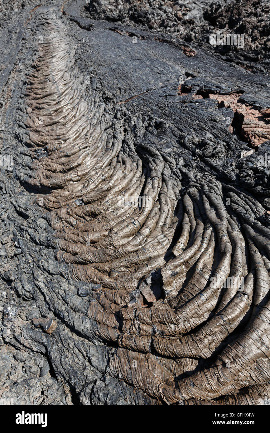 Beautiful volcanic landscape of Kamchatka Peninsula: view of lava field volcanic eruption active Plosky Tolbachik - Stock Image