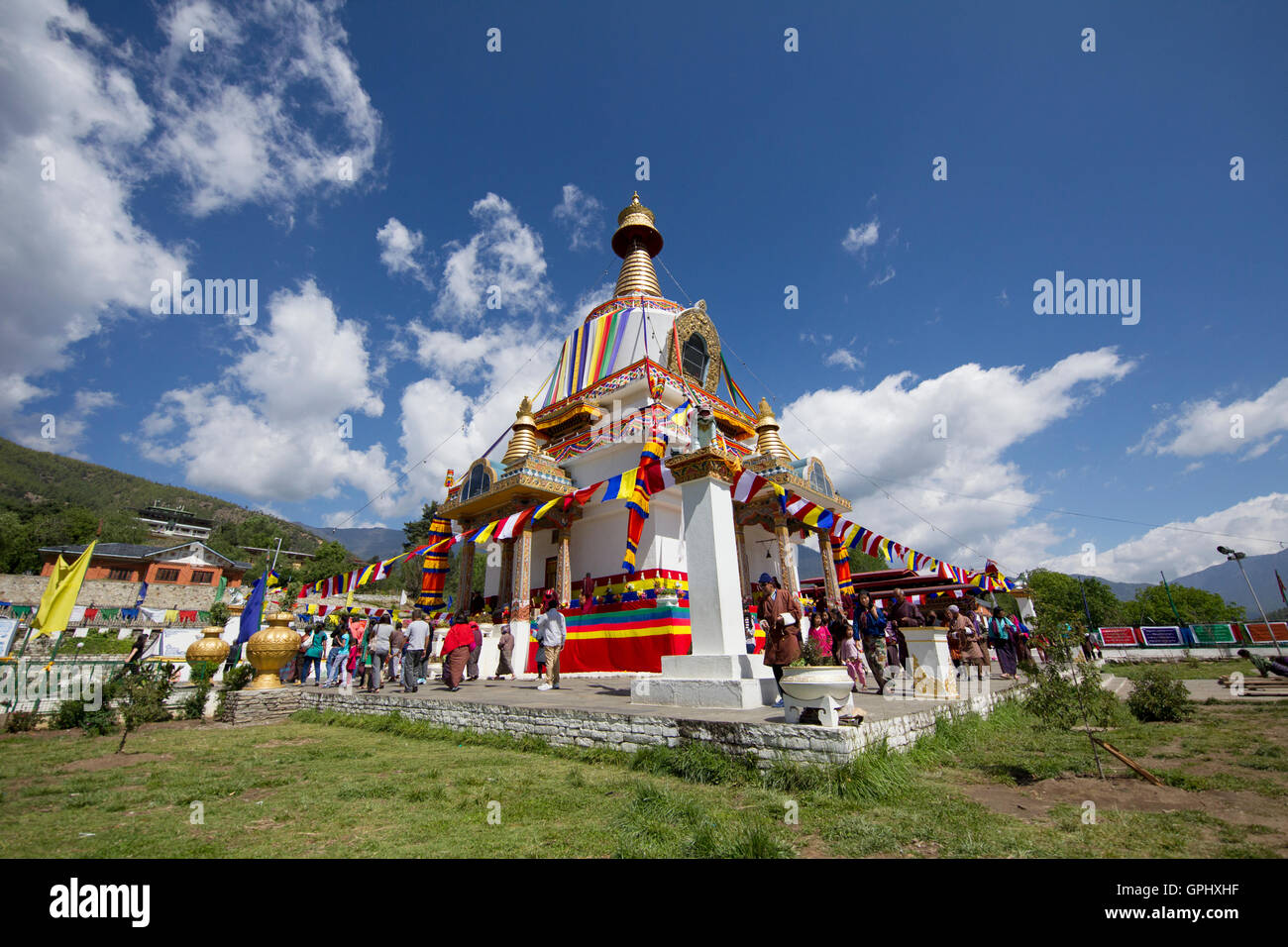Festival at national memorial chorten in Thimpu, Bhutan - Stock Image