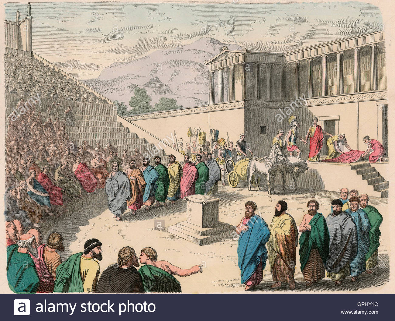 ancient greece theatre production of the tragedy agamemnon stock