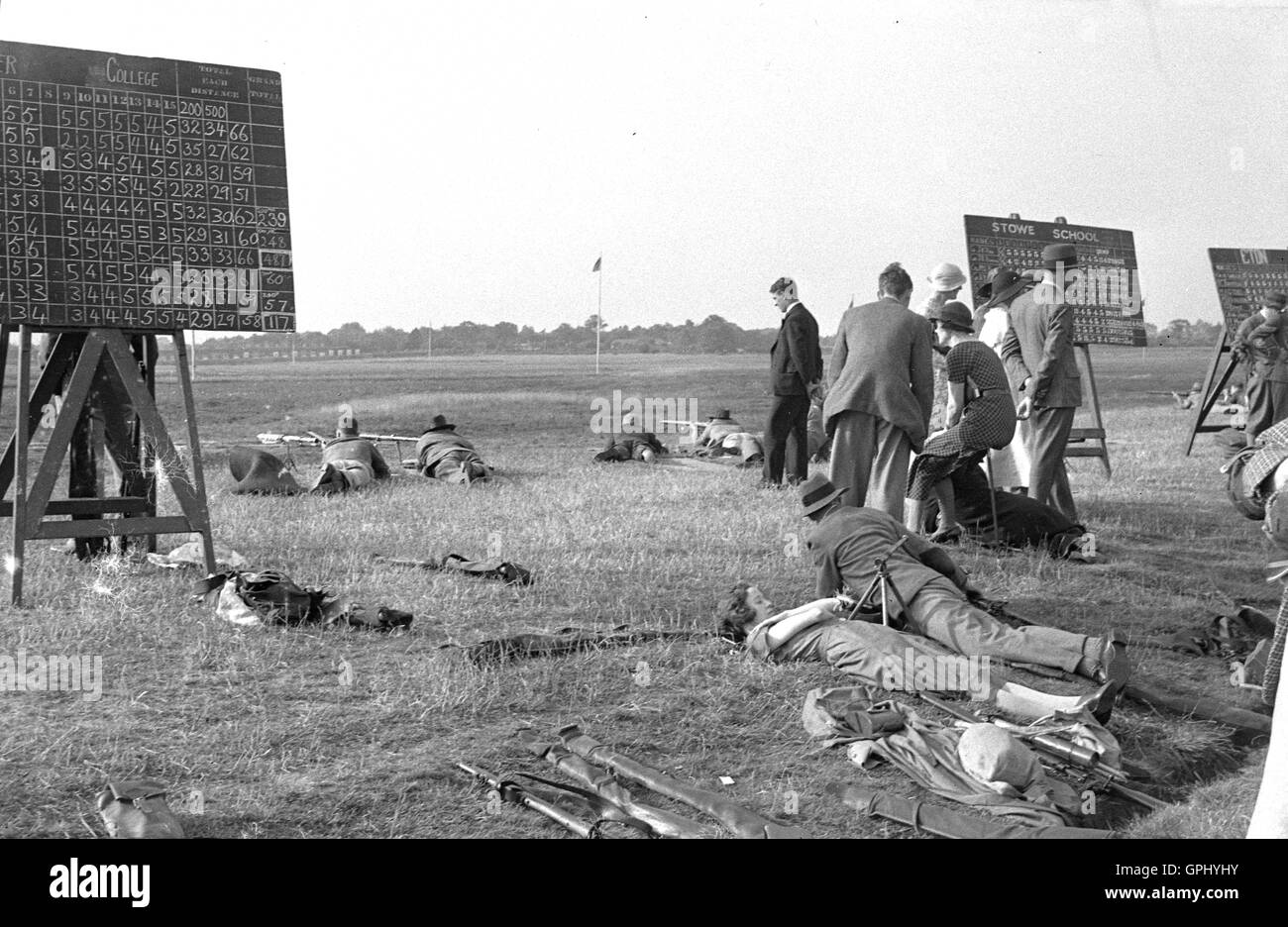 1930s, historical, English public schools rifle shooting competition at Bisley Camp, Woking, Surrey, England. - Stock Image