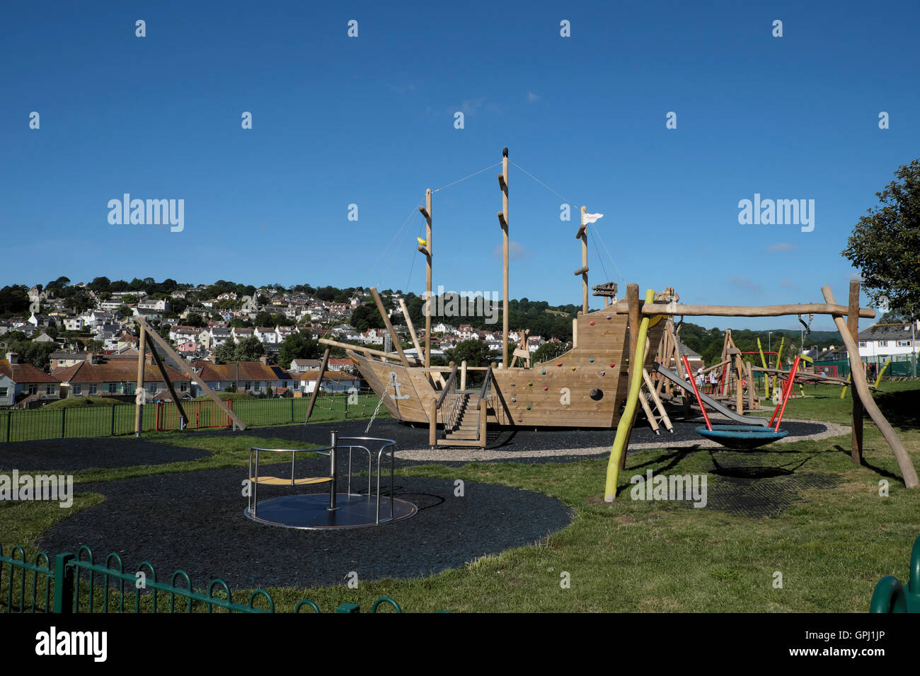 Wooden Climbing Pirate Ship Structure In Playground In Summer Lyme