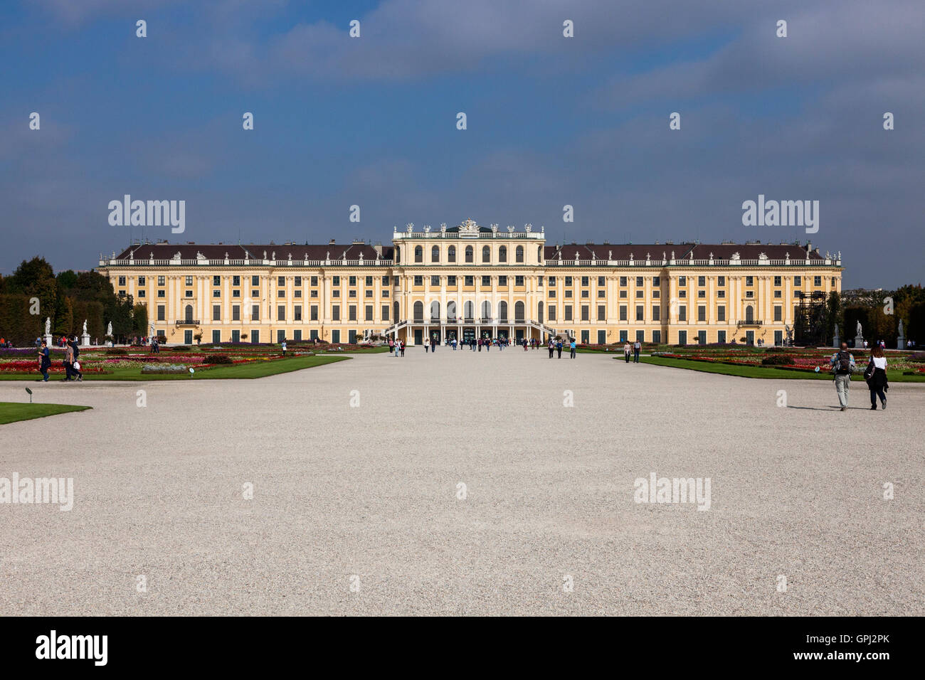 Overview of Schönbrunn Palace in Vienna, Austria, from the gardens - Stock Image