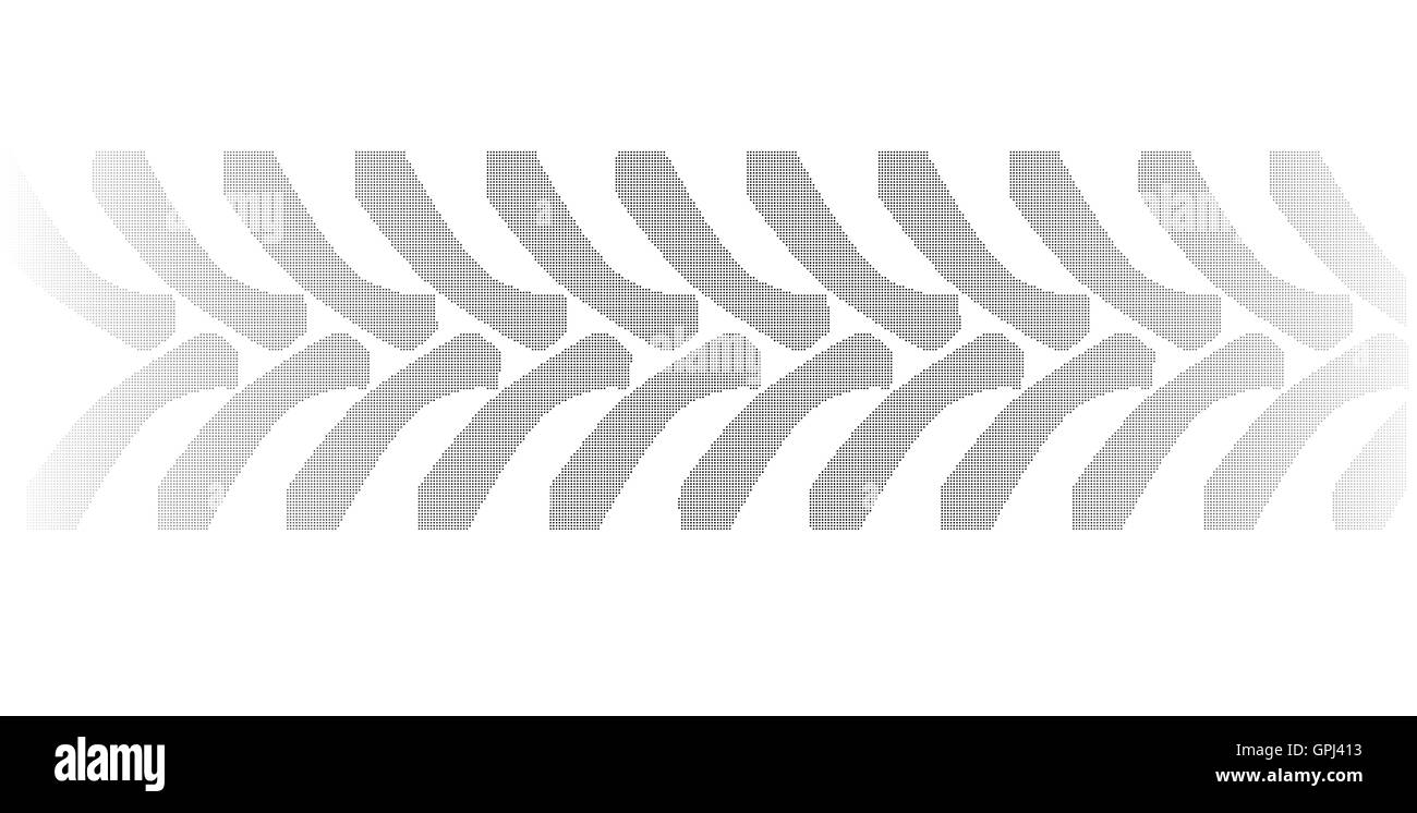 Halftone tractor tyre marks isolated over a white background - Stock Image