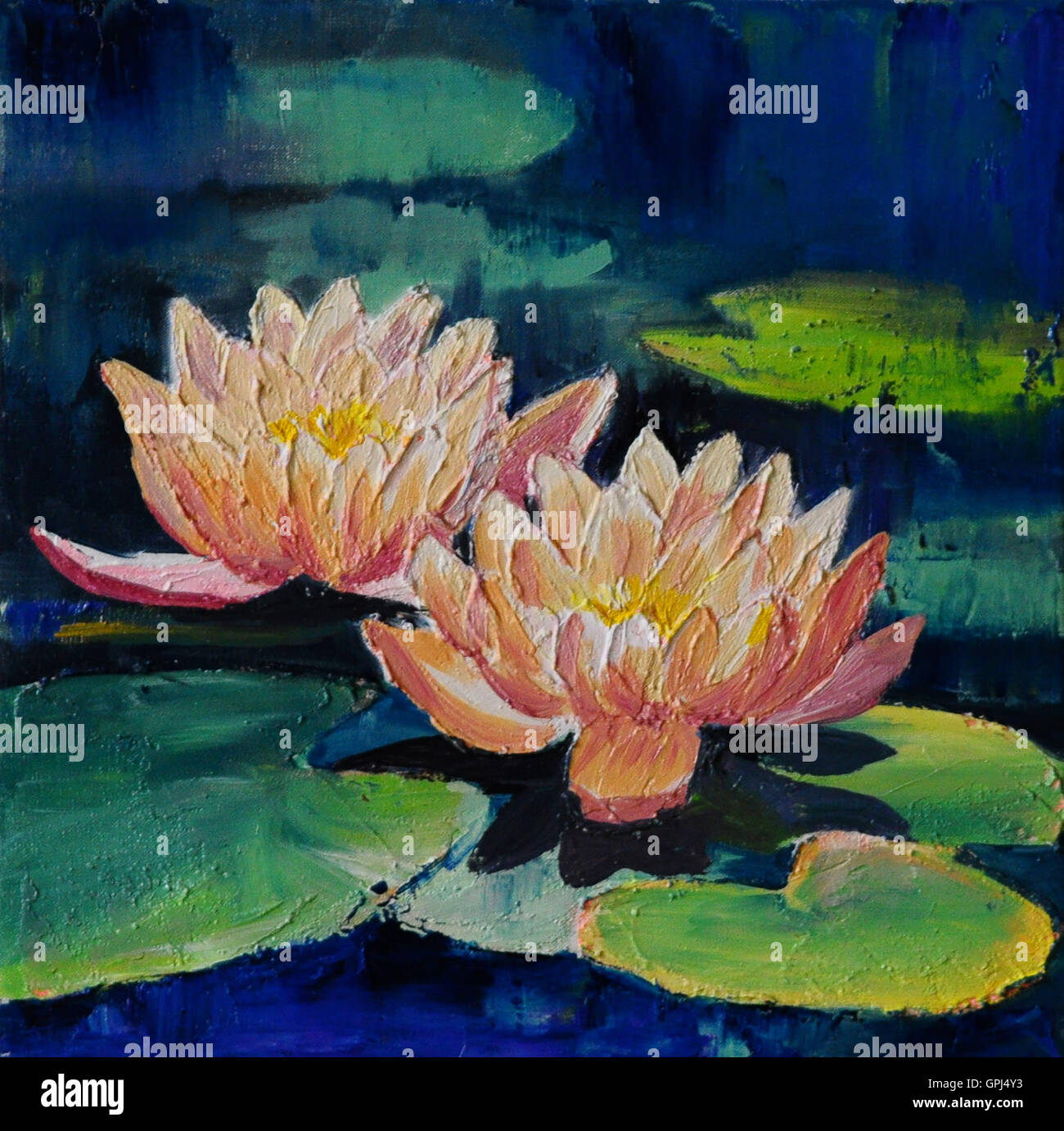 Oil Painting Lotus Flower Abstract Stock Photos Oil Painting Lotus