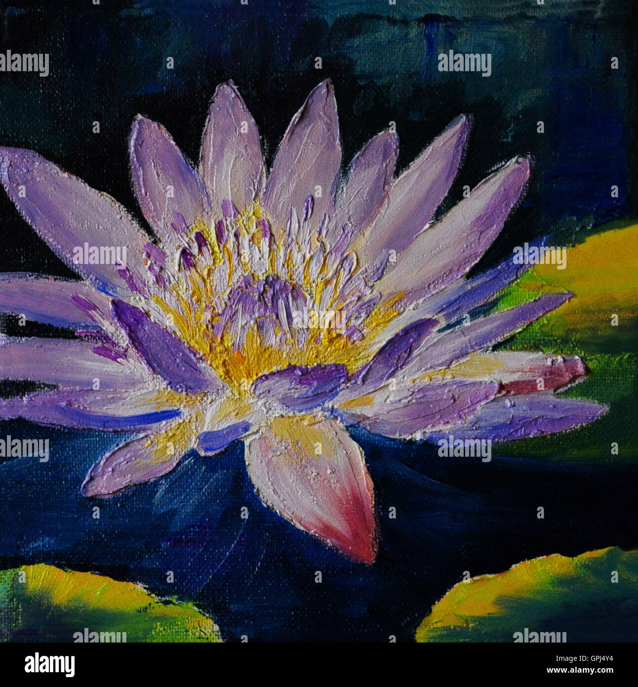 Oil Painting Purple Lotus Flower Abstract Drawing Stock Photo