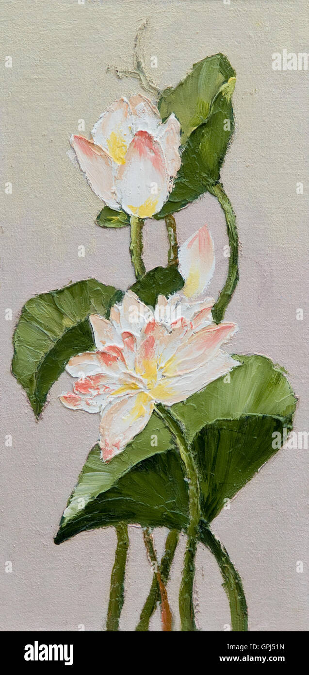 Oil Painting Lotus Flower Abstract Drawing Made In The Style Of