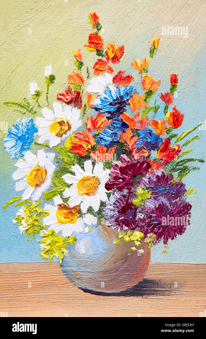 288 & drawing flowers in a vase oil watercolor abstract painting ...