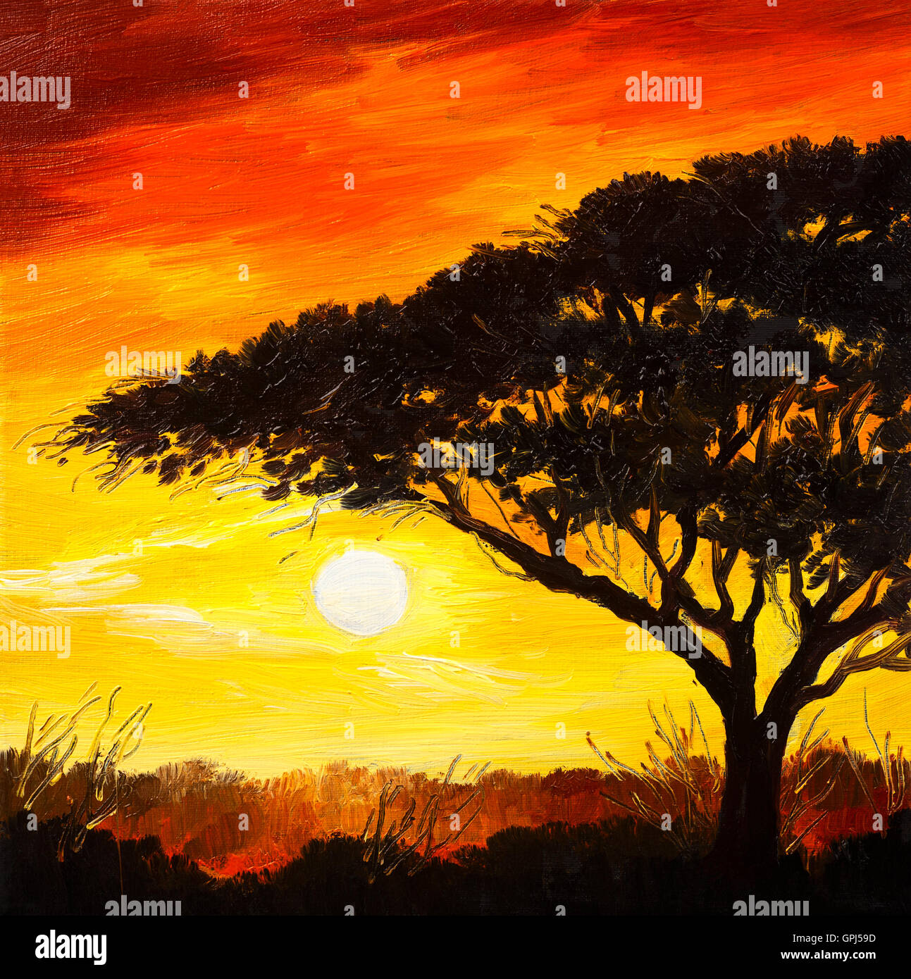 oil painting landscape - sunset in the forest, wallpaper, bright sun