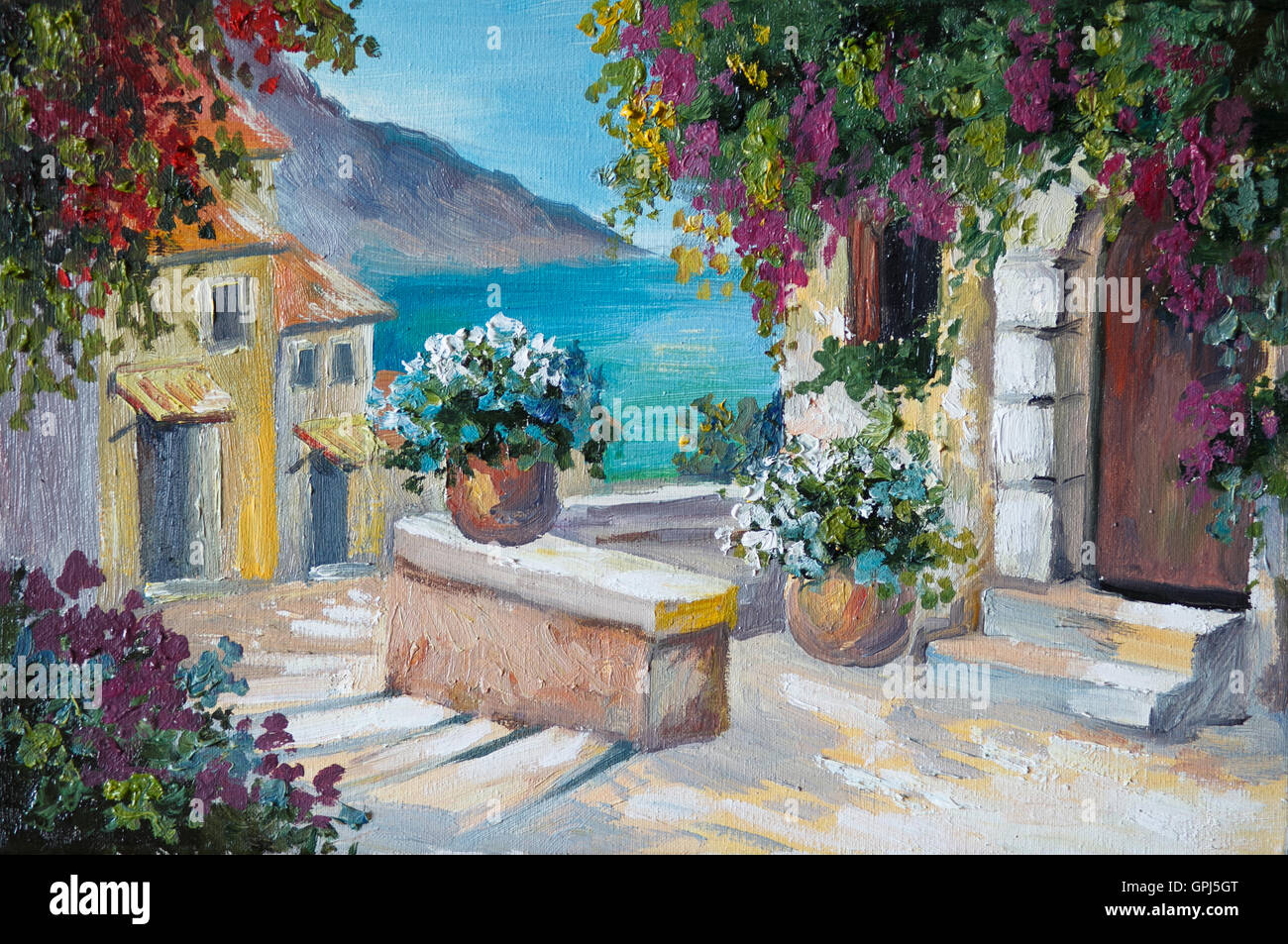 Oil Painting On Canvas Beautiful Houses And Stairs Near The Sea