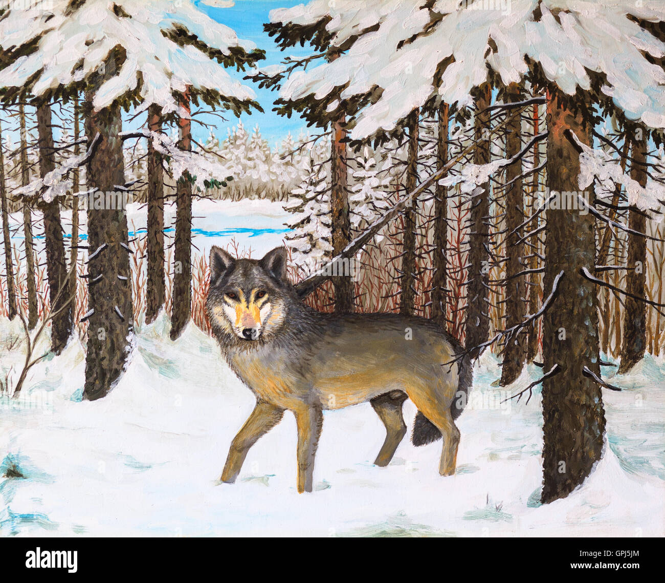 Oil Painting Wolf In The Pine Forest Winter Colorful