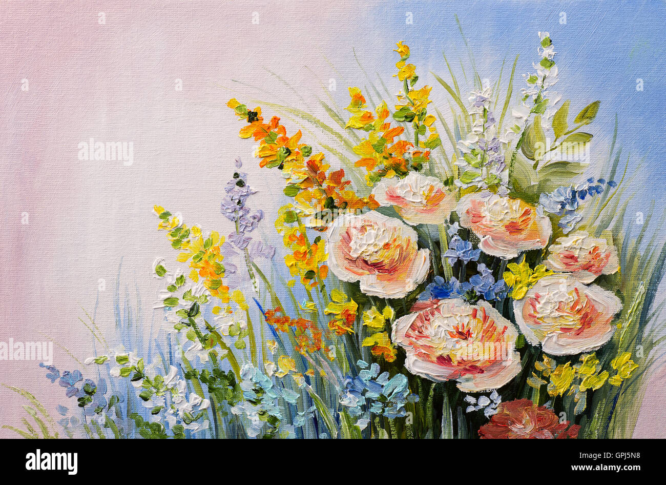 oil painting - abstract bouquet of summer flowers, colorful Stock ...